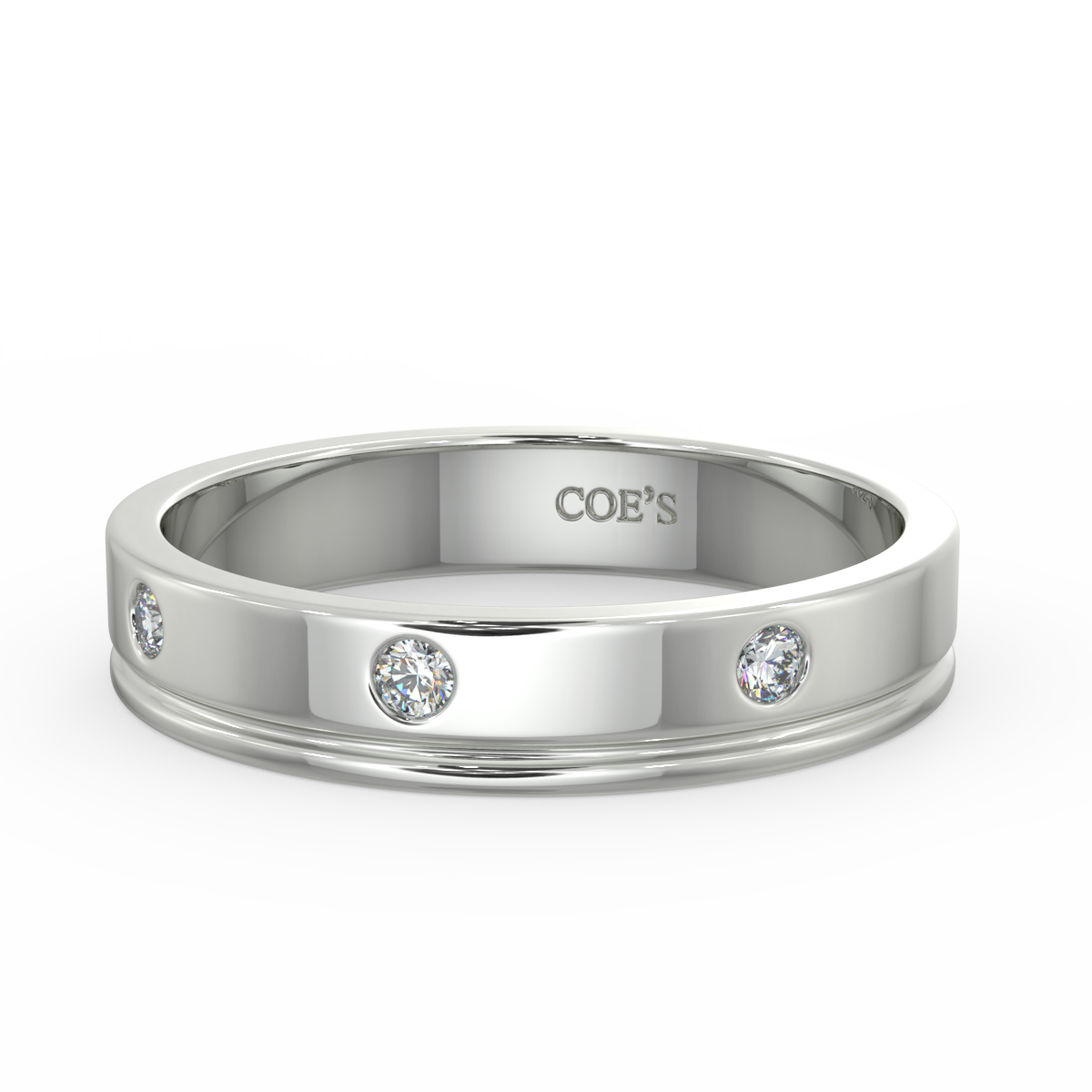 Isaac - Mens diamond set wedding band
