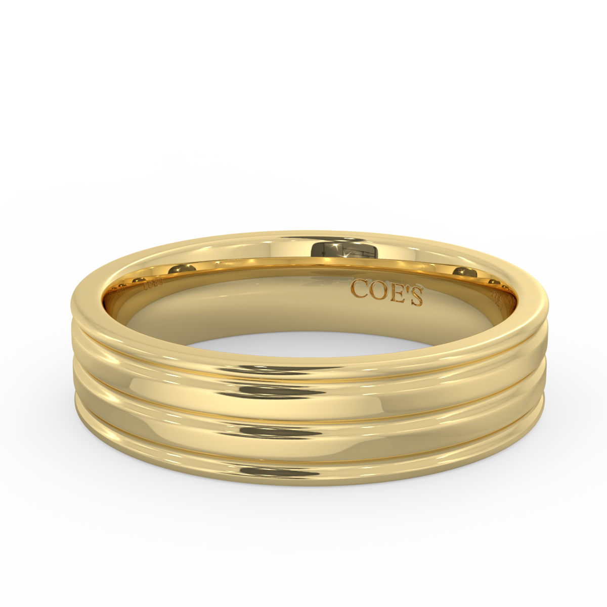 Mens Grooved Wedding Band
